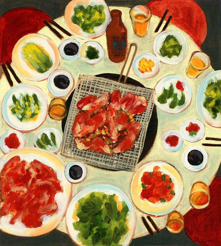 Abendmahl, 20 x 18 cm, Öl auf Papier, 2009