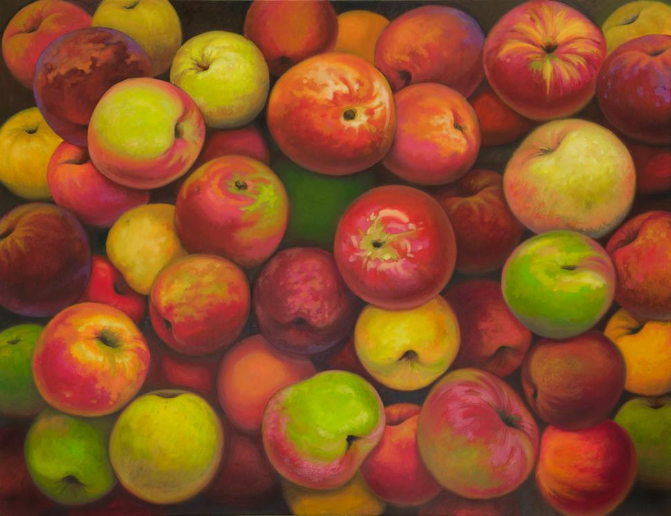 Äpfel, 100 x 100 cm, Öl auf Leinwand, 2014