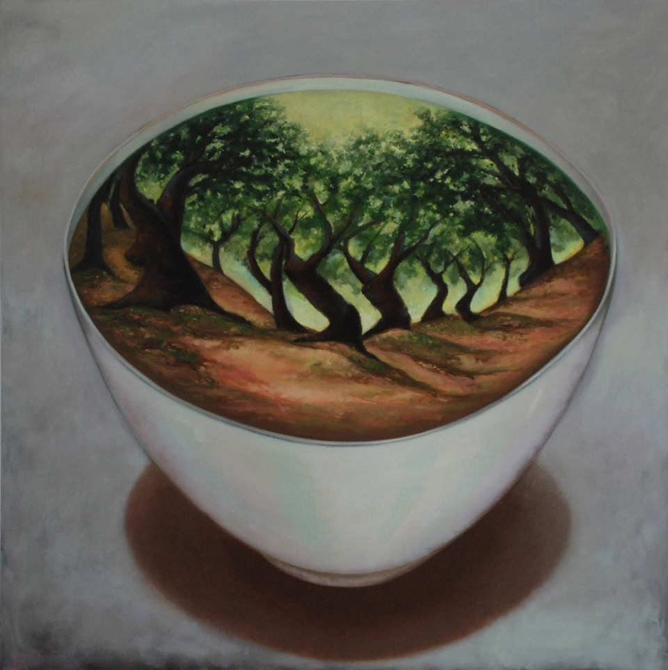 Olivenhain, 100 x 100 cm, Öl auf Nessel, 2015